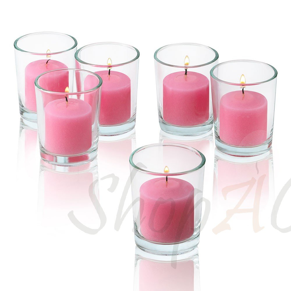 Light In The Dark 10 Hour Pink Rose Garden Scented Votive Candles With Clear Glass Holders Set Of 48.