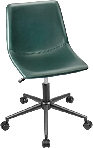 Furmax Mid Back Task Chair PU Leather Adjustable Swivel Office Chair Bucket Seat Armless Computer Chair Modern Low Back Desk Conference Chair Green