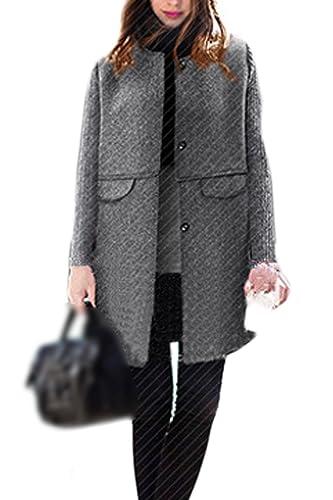 La Mujer Elegante Cuello Redondo Scoop Ol Oficina Caliente Trechcoat Outwear