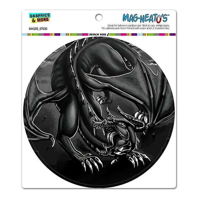 dragon roar fantasy medieval black and white circle mag neato s tm