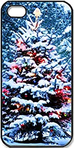 iPhone 4 iPhone 4s Case Christmas-Snow-New-Year-Tree-Lights Case for iPhone 4/4s with Black Side