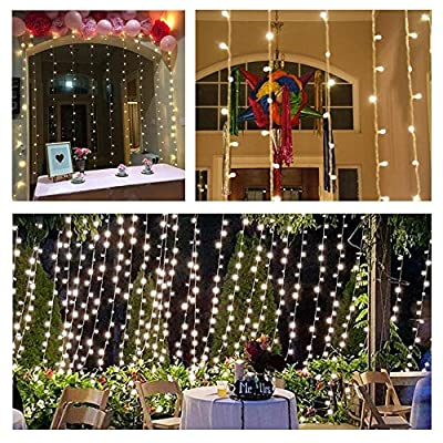 Kohree 300 Led Curtain icicle lights, Remote Curtain Lights for Christmas Wedding Party, 8 Mode Warm White