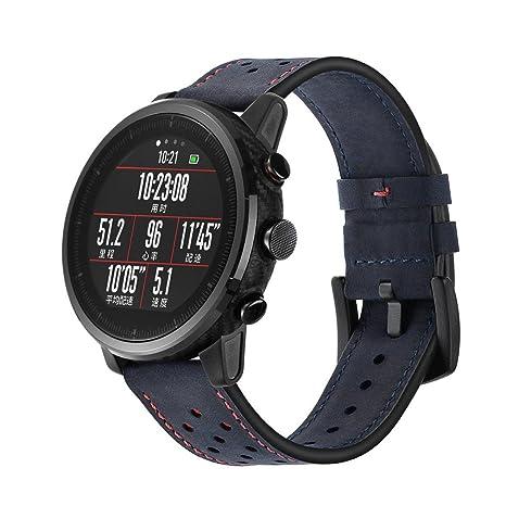 Zolimx Cuero Genuino Reloj Elegante Banda Pulsera Correas para Huami Amazfit Stratos Smart Watch 2/2S (Armada)