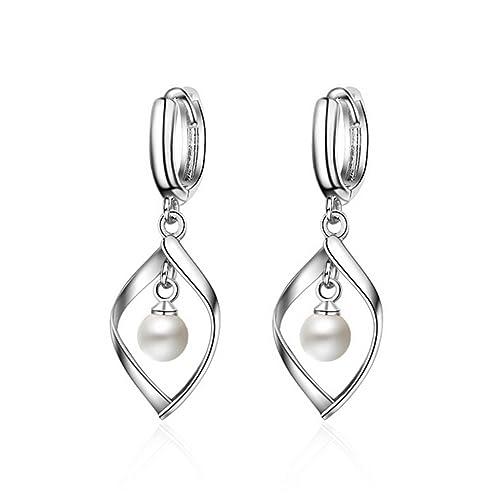 f880d2590ea0 shawa Mujer Pendientes de aro pequeño hojas perla pendientes plata de ley  925 Luxus Twist Pendientes Pendientes Navidad Regalo para Niños niña   Amazon.es  ...
