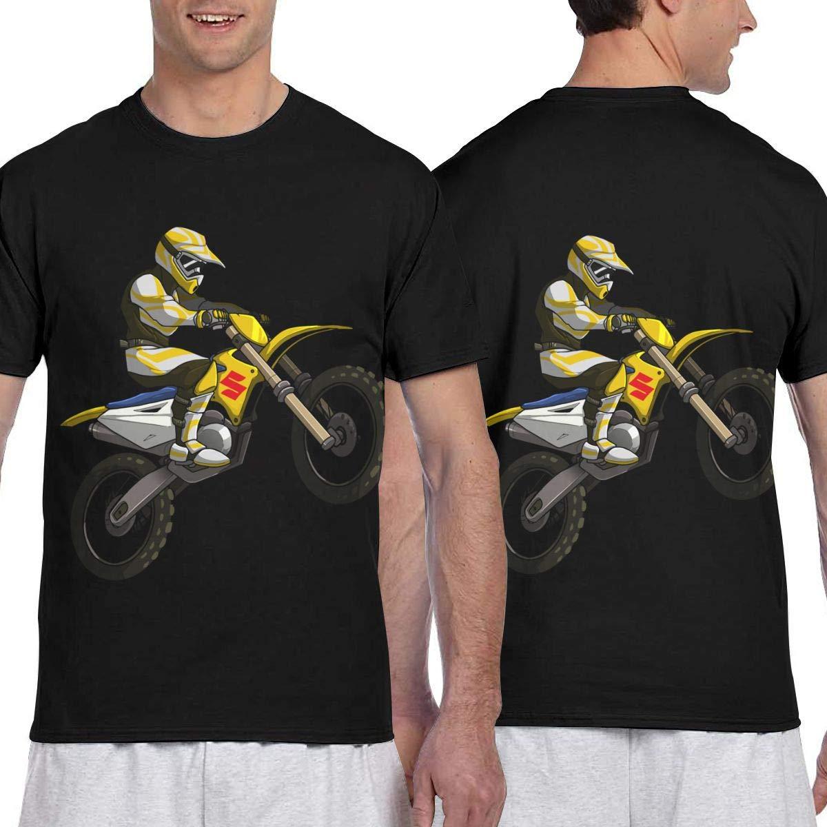 Silhouette of Motocross Mens Short Sleeve T-Shirt Print Tees Tops