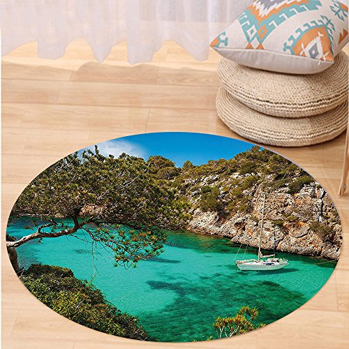 VROSELV Custom carpetNature Small Yacht Floating in Sea Majorca Spain Rocky Hills Forest Trees Scenic View for Bedroom Living Room Dorm Green Aqua Blue Round 72 inches by VROSELV