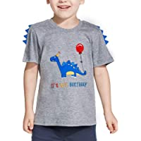 AMZTM Dinosaurio Camiseta de Cumpleaños Bebé Cumpleaños Fiesta Manga Corta