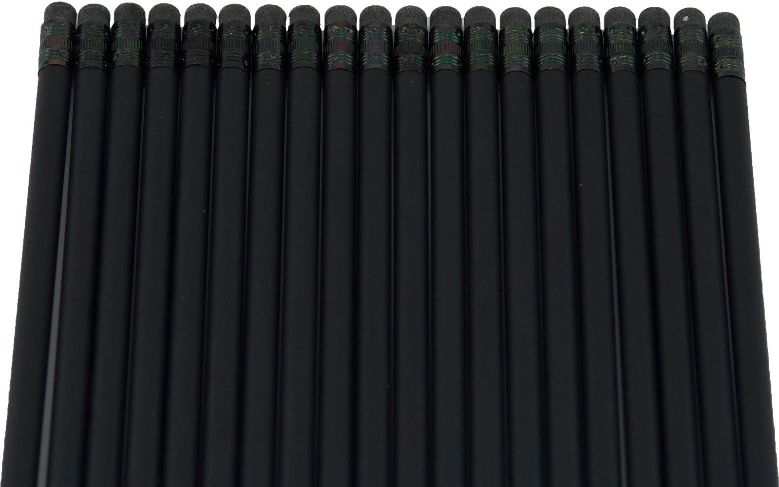 Ultra Premium Matte Black Pencil (Black Wood Matte Black with Black Eraser)(#2HB Lead) (Matte Black)(Bag of 36) by Graphite Pen & Pencil Company (Image #2)