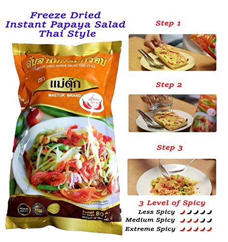 Freeze Dried Instant Papaya Salad Thai Style - Somtam Thai – Spicy Level 2 Medium Spicy -Just Pour Water and Ready to eat in 5 min. - Can keep 1 Year – GMP & HACCP Certified CODEX by Maetuk