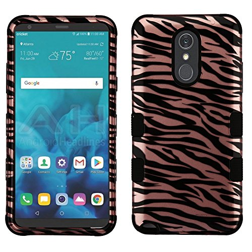(JoJoGold Case for LG Stylo 4 / Stylo 4 Plus/Q Stylus, Design Hybrid, Heavy Duty Hard Cover, Comes with Film Screen Protector - Rose Gold Zebra Stripes )