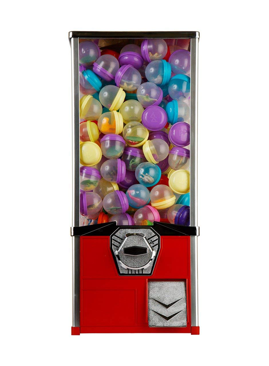 Vending Machine - Toy Capsule Vending Machine Perfect for Acorn and Round 2 inch Capsules - 45 mm Bouncy Balls - Large 2'' Toys - Coin Vending Machine Gift for Kids Vend Bouncing Ball Toy Capsule Red by Global Gumball (Image #1)