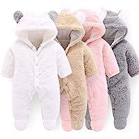 Mono de invierno con capucha para bebé recién nacido, diseño de oso de dibujos animados
