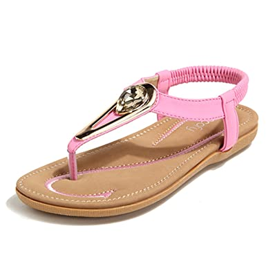 b5061b662b39 Socofy Women Flat Slip On Boho Sandals