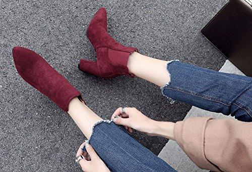 Souple Bottines Pointu Bout Femme Talon Aisun Chunky Rouge Sexy ZHA0xwnI