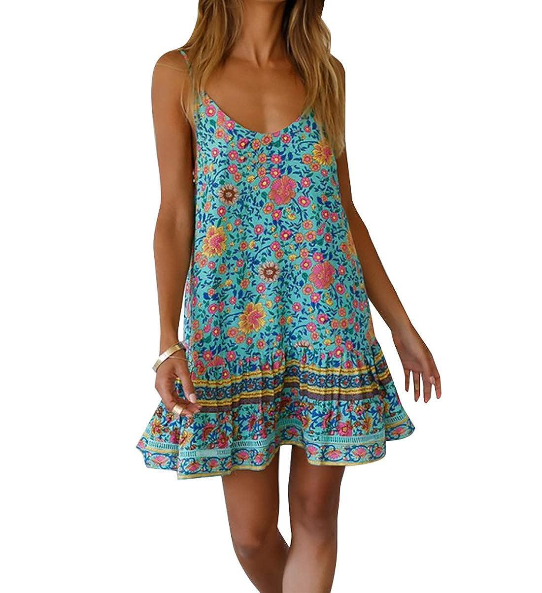 OOFIT Boho Floral Kleid Cocktail Kleid Damen Rückenfrei Minikleid Sommerkleid Strandkleid Partykleid EU34-EU40
