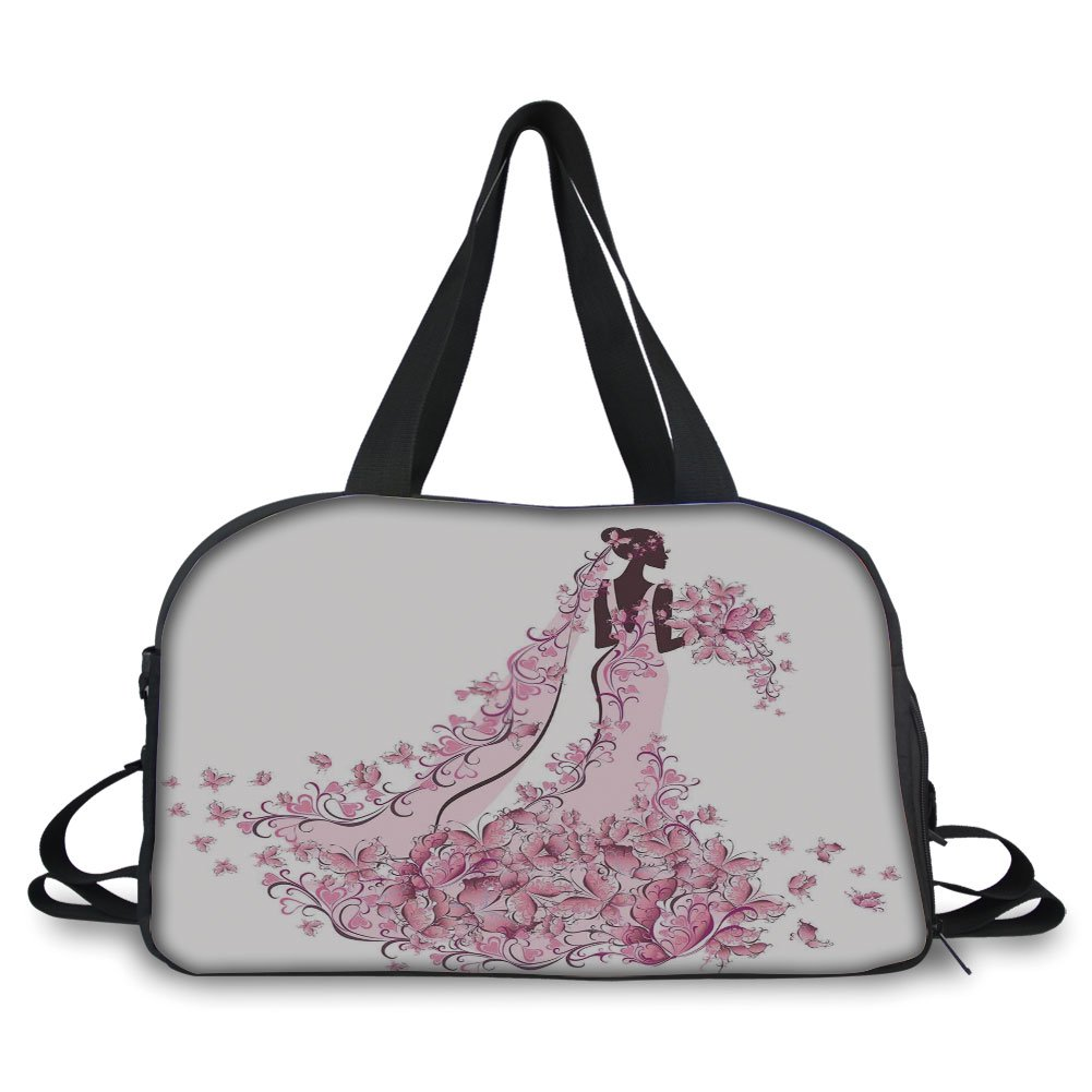 iPrint Travel handbag,Wedding Decorations,Flowers Hearts Butterflies on Wedding Dress Bridal Gown,Light Pink Maroon White ,Personalized