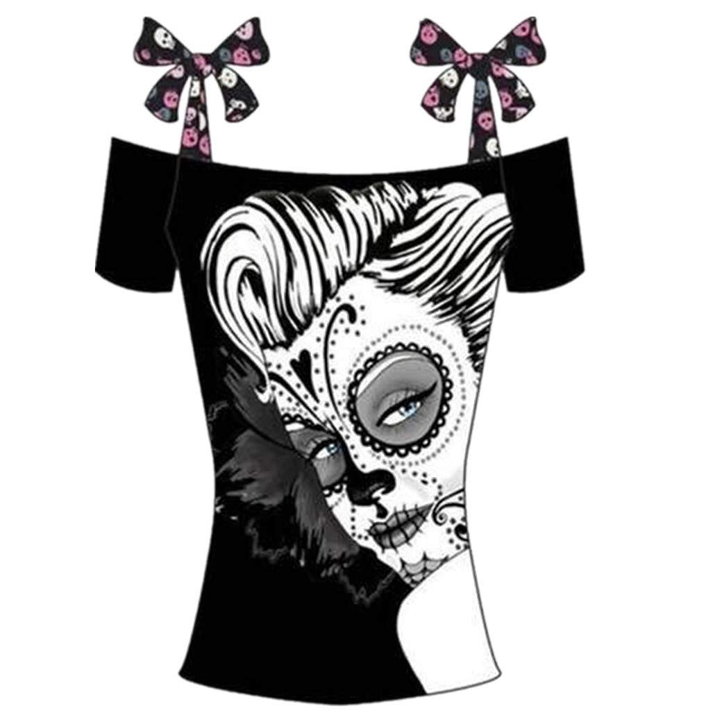 Summer Boutique Halloween Gothic Women TOP Vest Skull Tattoo Black Short Sleeve Strap Plus SIZE8-18
