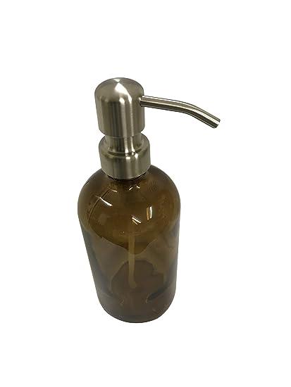 Ámbar pinta tarro dispensador de jabón con bomba de inoxidable cepillado ámbar marrón, loción tarro