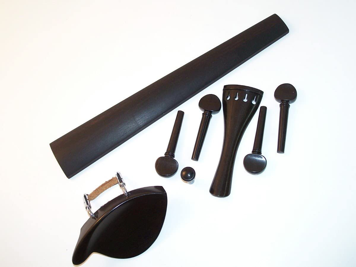 Ebony Violin Fitting Set:Pegs//Tailpiece//Chinrest//Endpin