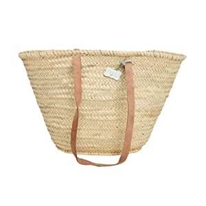 Emma Traditional French Basket, Hand Woven with Long Handle - Shopping / Beach Bag by Le Papillon Vert