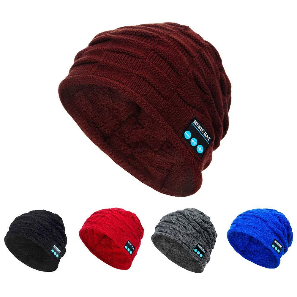 PASATO New Winter Unisex Bluetooth Wireless Smart Beanie Keep Warm Windproof Hat Handsfree Music Speaker (Blue,Free Size) by PASATO Hat (Image #5)