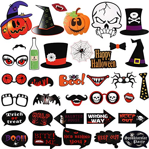 Party Pieces Halloween (35 Pieces Halloween Photo Booth Props Funny Selfie Props Assorted Designs Photo Props for Party)