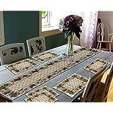 Glamkart Jacquard Fabric Handloom Table Mats With Runner