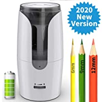 Electric Large Pencil Sharpener for Colored Pencils(6-12Mm), Super Quiet Long Lasting Rechargeable Battery Operated, 1 Hr Charging /300 Times Sharpening,White