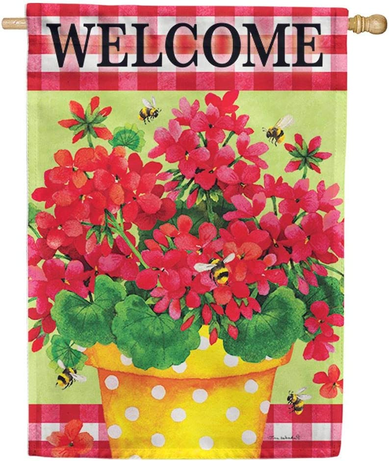 Custom Decor Geranium Gingham Welcome - Standard Size, 28 x 40 Inch, Decorative Double Sided, Licensed and Copyrighted Flag, Printed in The USA