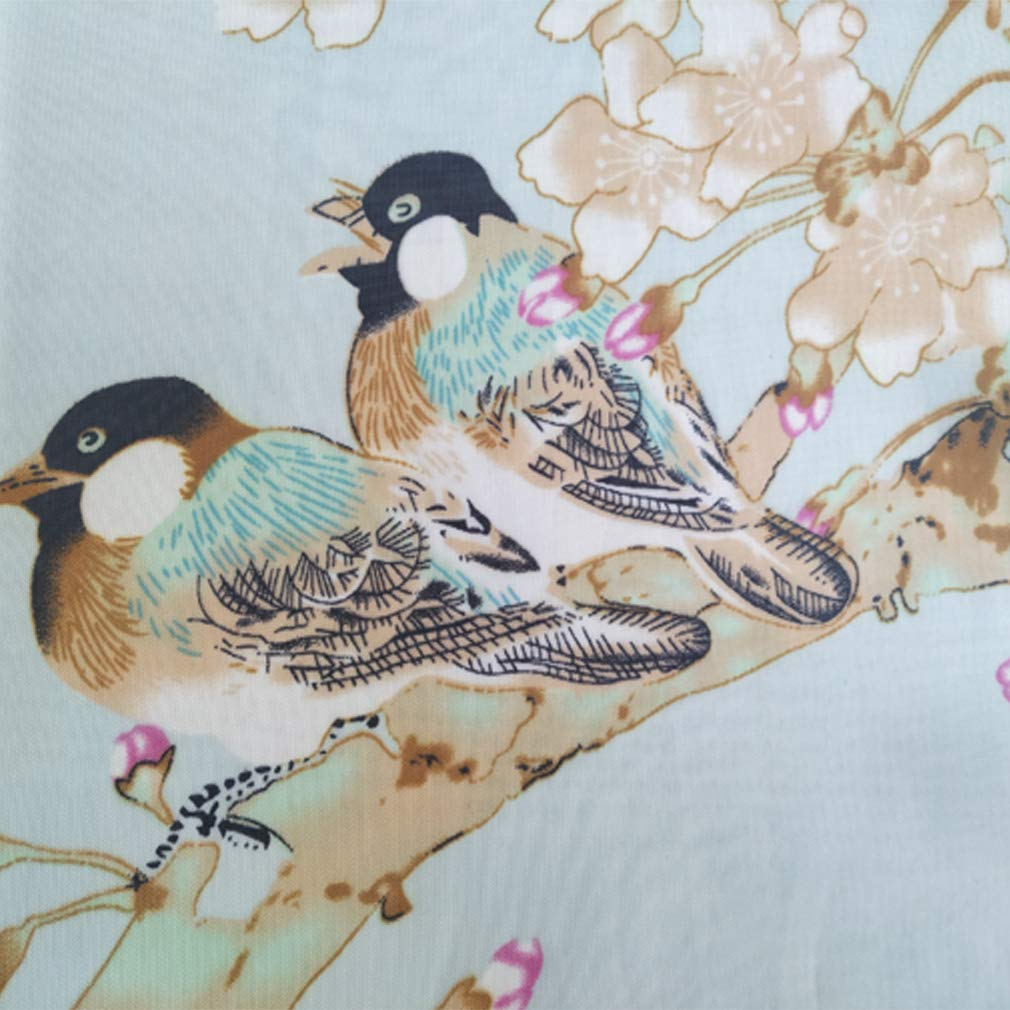 Herebuy - Unique Women's Floral Scarves: Chiffon Flowers & Birds Printed Scarf (Pale Green+Coffee) by E-Clover (Image #4)