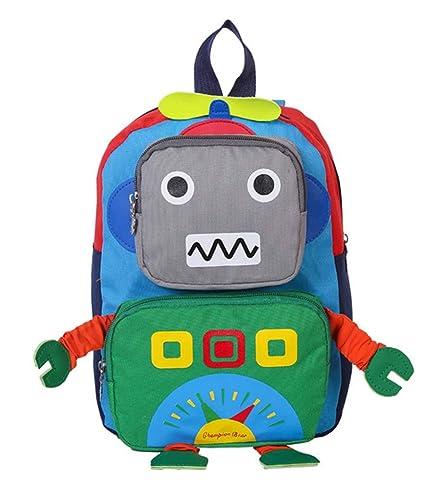 Huateng Mochila pequeña para niños pequeños, Bolso de Escuela Lindo para bebés Robot Mochilas Escolares