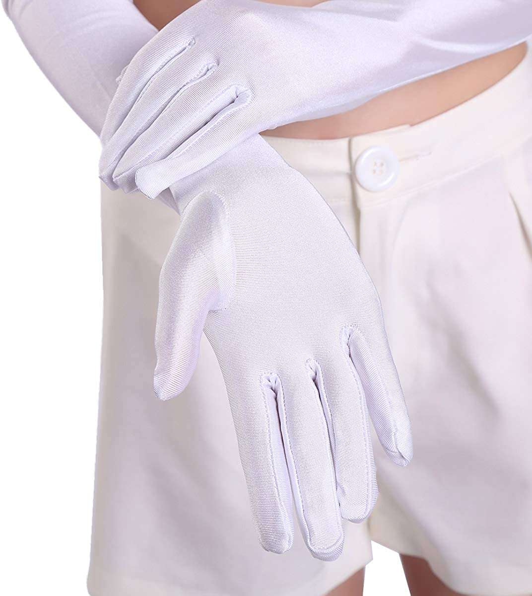 Women Long Gloves 21 Satin For Opera Wedding Bridal Party Prom Costume