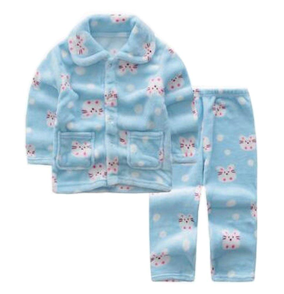 Blue Flannel Niños pijama traje de baño suave Velvet Sleepwear Nightcloth Black Temptation