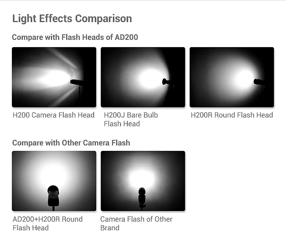 Godox AD200 Pocket Flash and H200R Ring Flash Head Set, 200Ws 2.4G TTL Strobe Flash 1/8000s HSS Cordless Monolight with 2900mAh Lithium Battery Bare Bulb by Godox (Image #6)