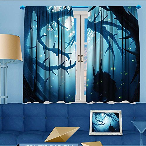 Mikihome Blackout Burgundy Curtains Burning Eyes in Dark at Night Halloween White Bedroom/Living Room 80% Privacy Panel Drapes 55