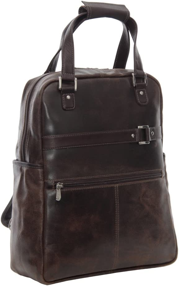 Piel Leather Vintage Laptop Carry-All Convertible Backpack, Vintage Brown, One Size