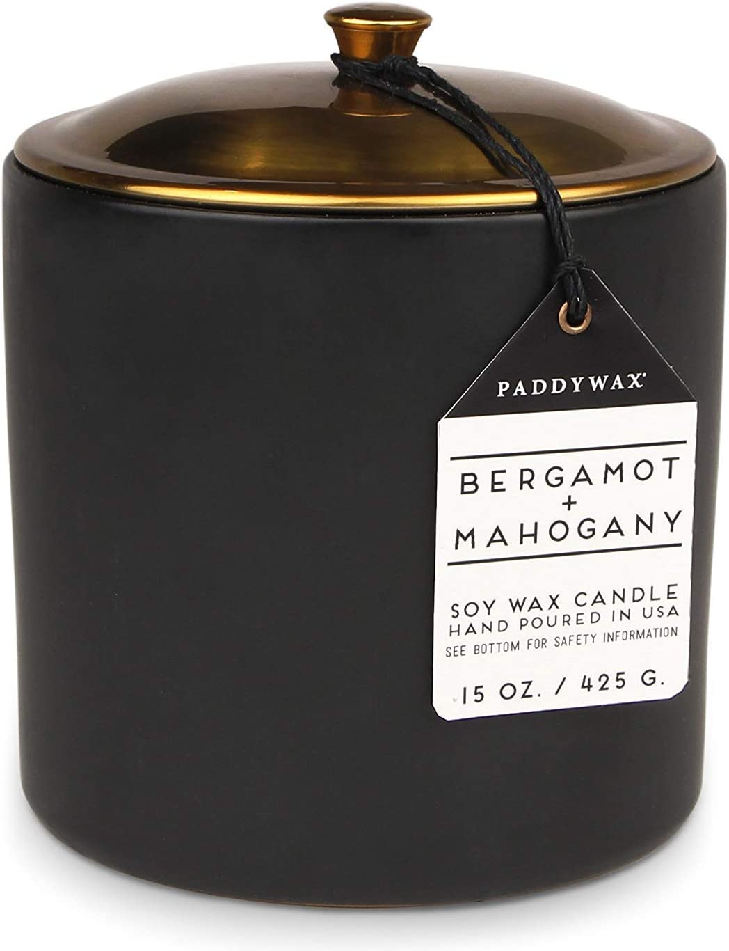 Paddywax Candles HY1503ZCandles Hygge Collection Scented Soy Wax Candle, 15-Ounce, Bergamot & Mahogany
