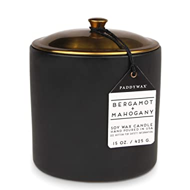 Paddywax Hygge Collection Scented Soy Wax Candle, 15-Ounce, Bergamot & Mahogany
