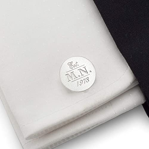 Amazon Com Personalized Circle Silver Cufflinks Birthday Gift For