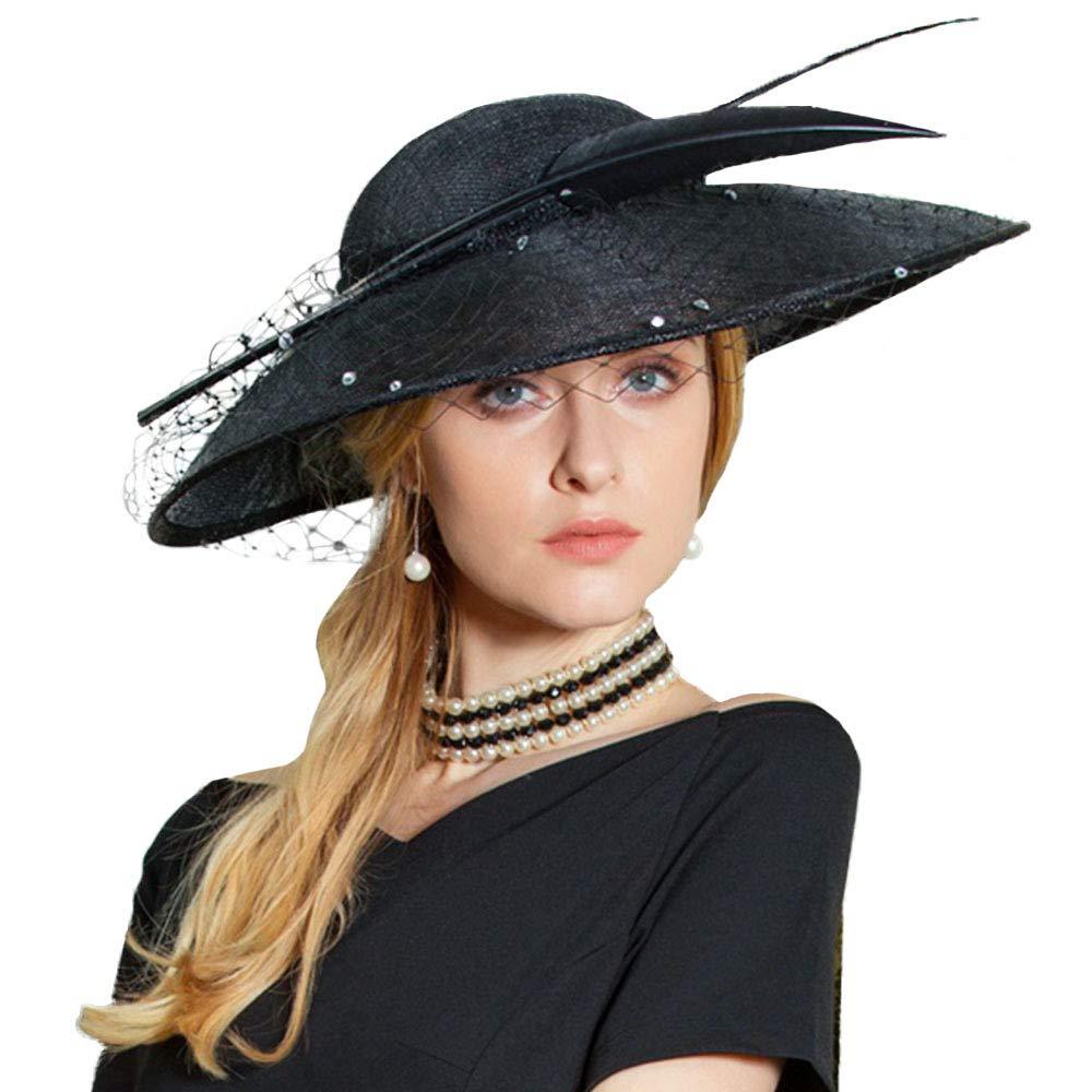FADVES Feather Veil Sinamay Fascinator Wide Brim Hat Church Derby Cocktail Wedding Black