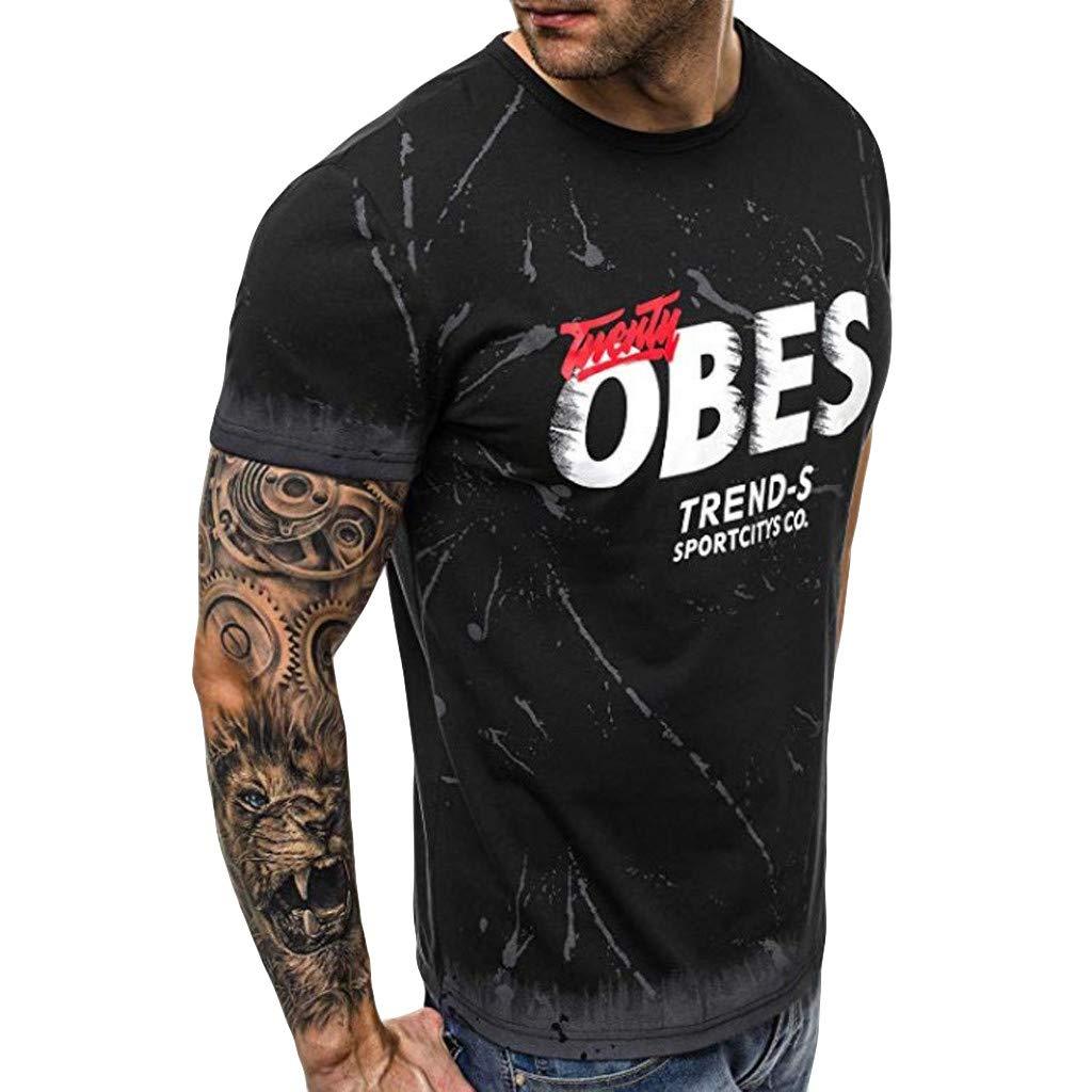 Holata T-Shirt for Men Summer Casual Printing Patchwork O-Collar Short Sleeve T-Shirt Blouse Tops