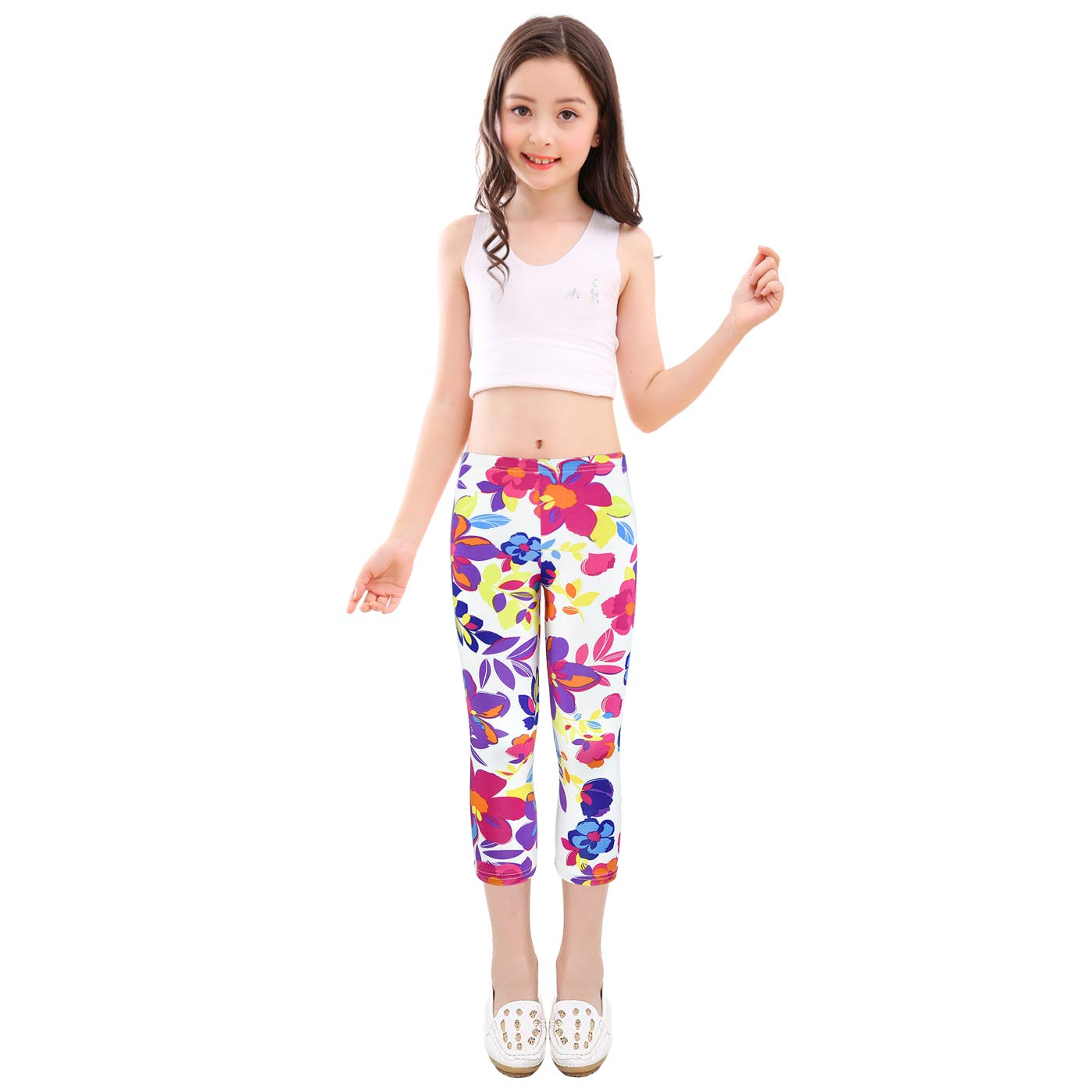 slaixiu 3-Pack Printing Flower Girl Leggings Kids Classic Pants 4-13Y(No.70_SADF_#130)