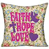 Mokjeiij Faith Hope Love Thanksgiving Pillow Cover Sofa Bed Decoration Square Cushion 1818.