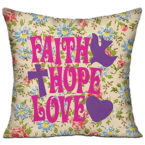 Mokjeiij Faith Hope Love Thanksgiving Pillow Cover Sofa Bed Decoration Square Cushion 1818. by Mokjeiij
