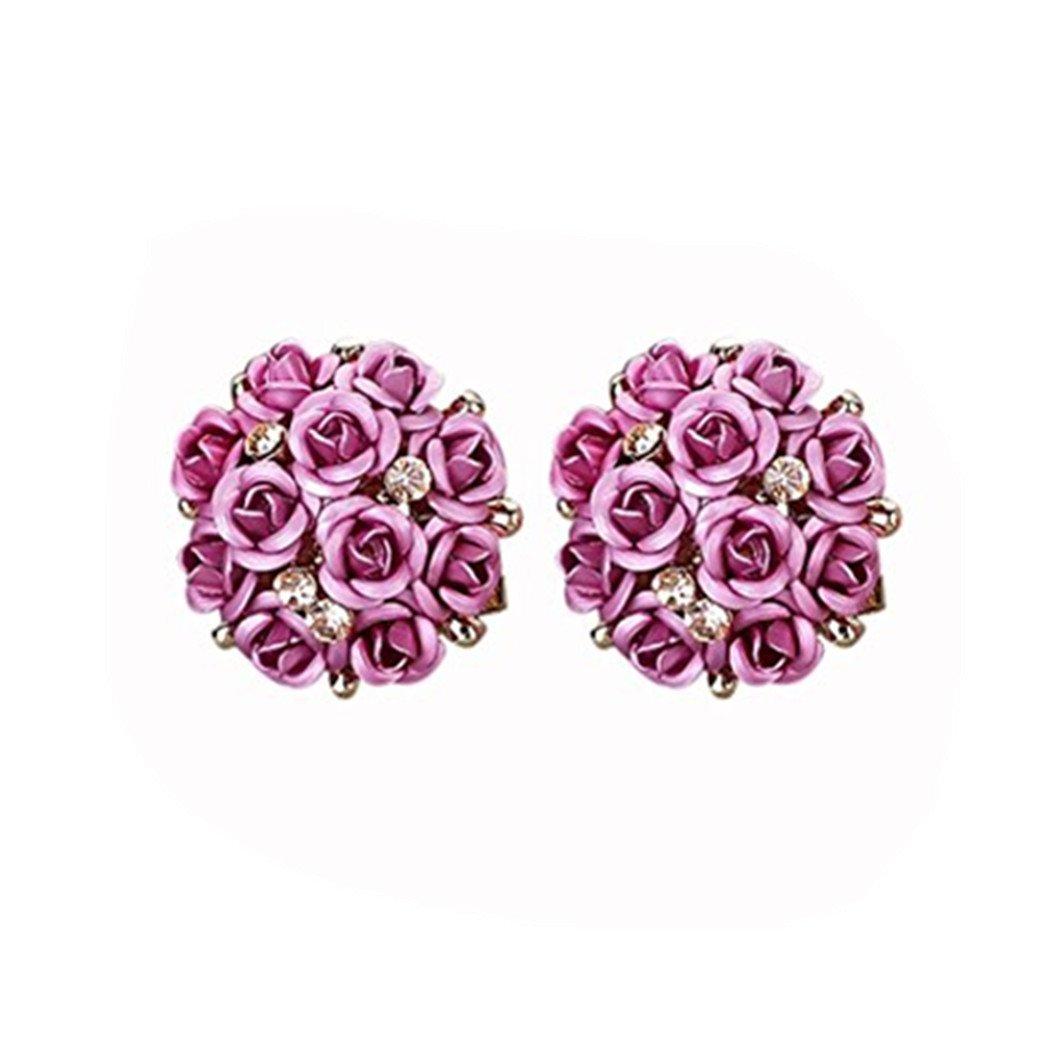 DZT1968 Women Girl Summer Bohemia Flower Anti-allergy Rhinestone Earrings