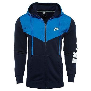 Nike M NSW Hbr+ FZ FLC Chaqueta, Hombre, Azul/Blanco ...