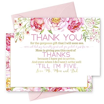 Amazon Com 15 Floral Thank You Cards With Pink Envelopes Stationery