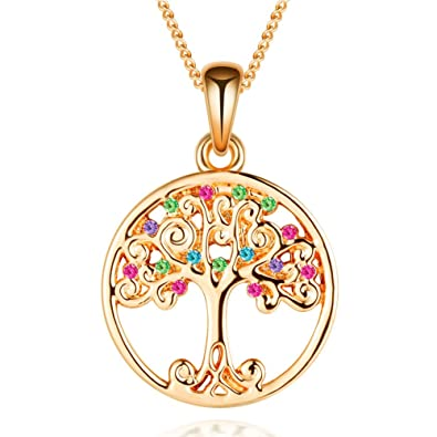 Murtoo tree of life necklace decorated with colorful swarovski murtoo tree of life necklace decorated with colorful swarovski element crystals life tree necklace for women aloadofball Choice Image