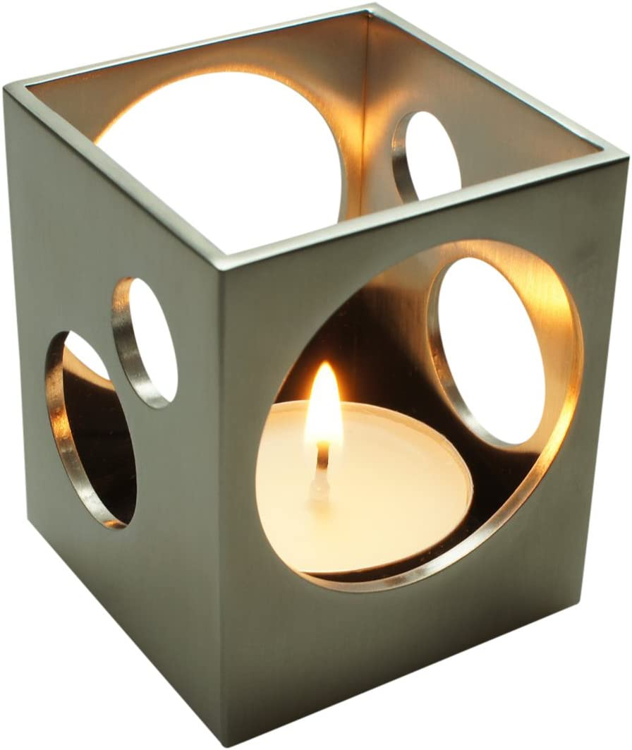 ArtsOnDesk Modern Art Tea Light Holder St213 Stainless Steel Satin Finish Patent Applied for --Candle Holder Stand Case Home Deco Restaurant Bar Aromatherapy Spa Party Wedding Votive Garden Gift