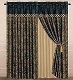 Chezmoi Collection Lisbon 4-Piece Jacquard Floral Window Curtain Set Sheer Backing Tassels Valance, Black/Gold